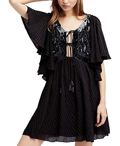 Free People Women Large Sequin-Embellished Shift Dress Black L