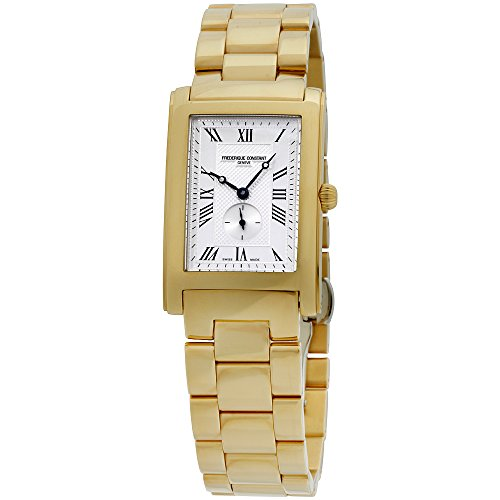 Frederique Constant Silver Rectangle Dial Leather Strap Ladies Watch FC235MC25B