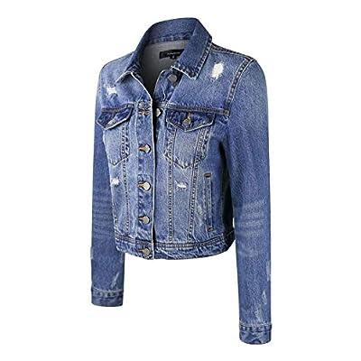 makeitmint Women's Casual Distressed Washed Boyfriend Look Style Denim Jacket at Women's Coats Shop