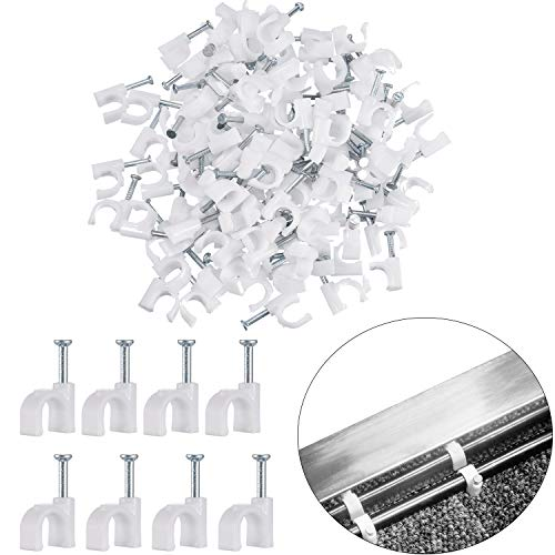 White Cable Clips Nails, Wire Nail Clamps Cable Staples for Ethernet Cable RG6 RG59 CAT5 CAT6 RJ45 TV (300 Pieces, 7 mm)