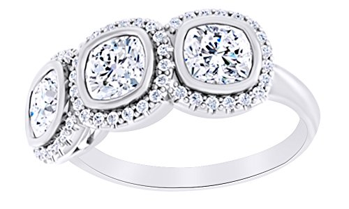 AFFY Cushion Cut Natural Diamond Three Stone Journey Band Ring in 14K Solid White Gold (0.2 Ct),Ring Size-5