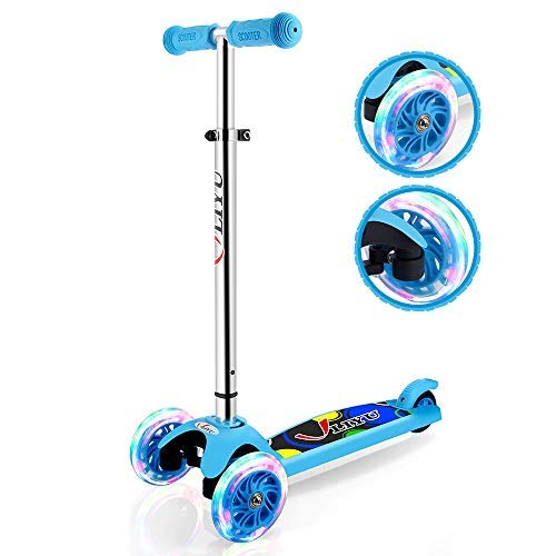 LIYU 1281F Mini Kick Scooter for 2-6 Year Old Kids with 3 PU Wheels, Adjustable Height, Non-Electric - Sky Blue