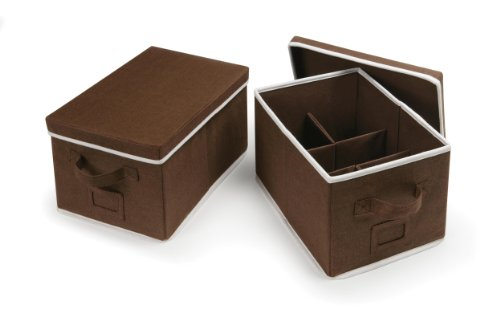 Badger Basket Folding Baskets with Adjustable Dividers Set of 2, Espresso from Badger Basket