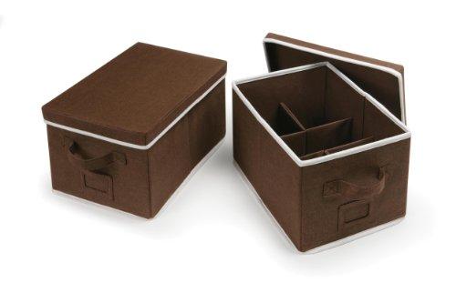 Badger Basket Folding Baskets with Adjustable Dividers Set of 2, Espresso (Grand Basket Co)