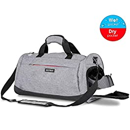 DCZTELG Sports Gym Bag with Shoes Compartment and Wet Pocket,Training Yoga Travel Holdall Duffle Bag for Men and Women