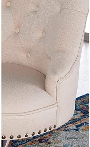 Amazon Com Linon Sinclair Wood Upholstered Office Chair In Beige Furniture Decor