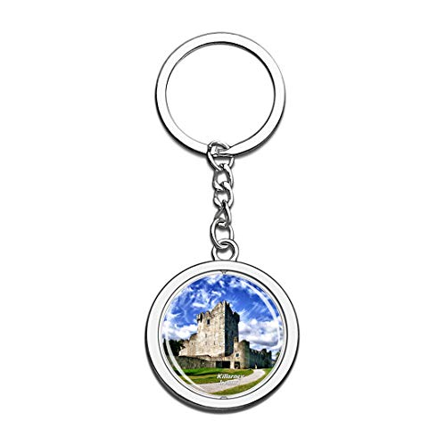 Irelang Keychain Ross Castle Killarney Key Chain 3D Crystal Spinning Round Stainless Steel Keychains Travel City Souvenirs Key Chain Ring