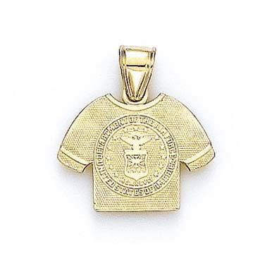 Logo Heart 10k Charm - 14k Yellow Gold US Air Force Logo Shirt Pendant