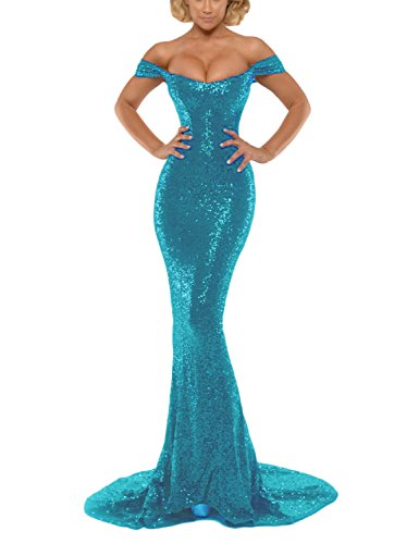 YSMei Women's Long Sequins Bridesmaid Celebrity Dress Mermaid Off Shoulder Prom Formal Gowns Turquoise 14