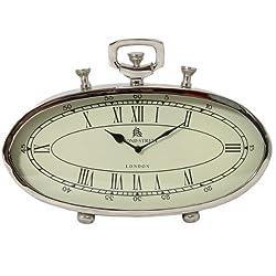 Urban Designs 49 Bond Street Classic Polished Nickel Metal Table Clock, 16