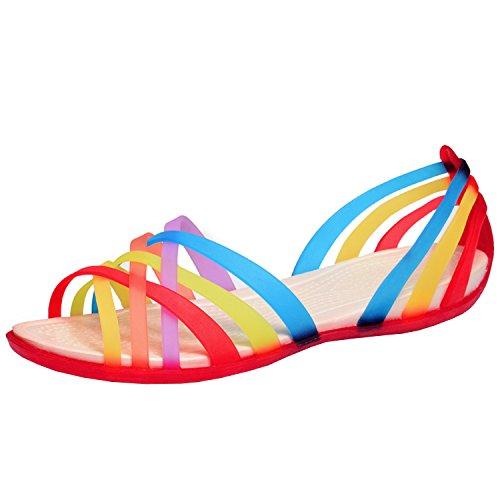 Azbro Mujer Sandalias Gelatina Planas Slip-on con Correas de Multicolores Rojo