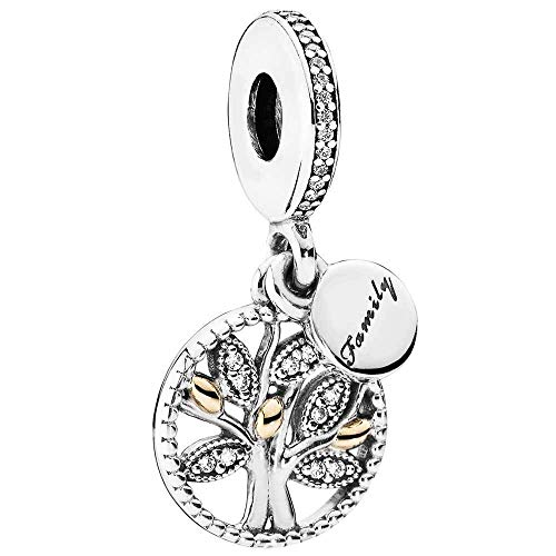 (Pandora Family Heritage Dangle Family Tree 14K Gold Sterling CZ Genuine Designer Bracelet Charm)