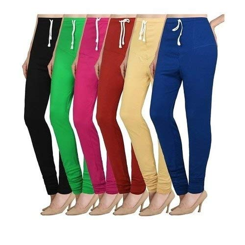 (red,green,navy blue) Cotton chudidar leggings free size (PACK OF 3)