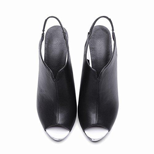 YE Damen Slingback Peep Toe Pumps Blockabsatz High Heels Plateau mit Schnalle und Blumenmuster Elegant Schuhe Schwarz