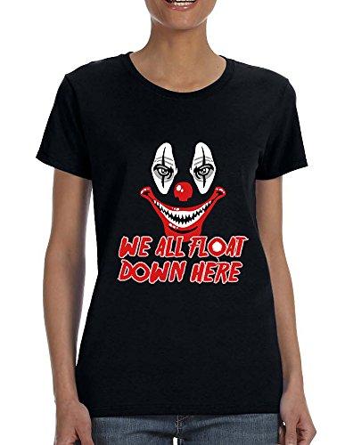 (Allntrends Women's T Shirt We All Float Down Here It The Clown Halloween (3XL,)