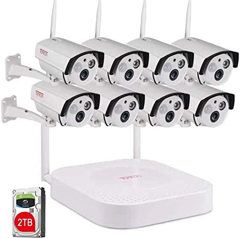 2 Way Audio Tonton 1080P Full HD Security Camera System Wireless,8CH NVR Recorder