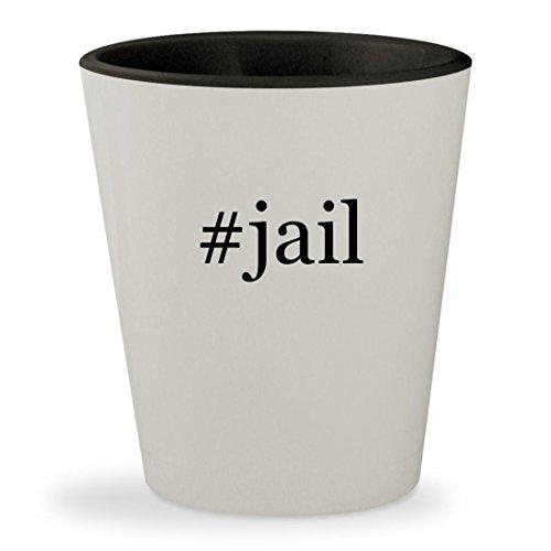 #jail - Hashtag White Outer & Black Inner Ceramic 1.5oz Shot (Galileo Costumes)
