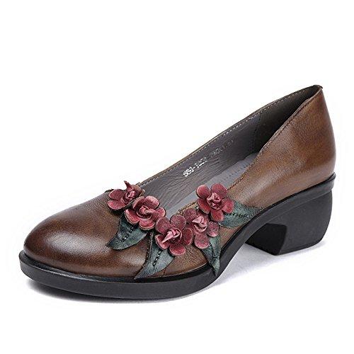 Flores Hechas a Mano Solos Zapatos de Espesor con Zapatos de Madre Hembra Boca Baja de Gran Tamaño Marrón