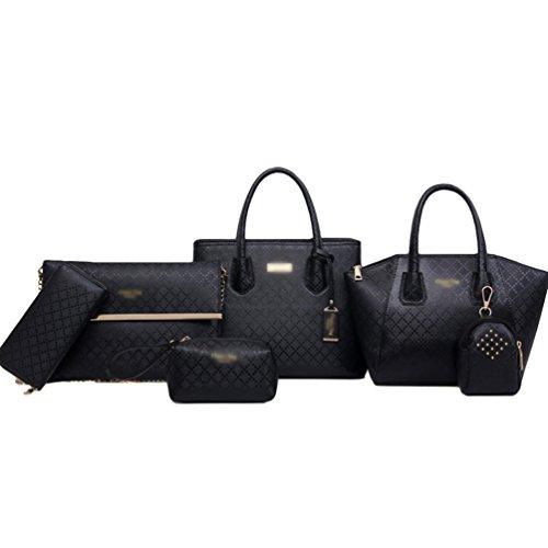 Dexinx Donna Exquisite Borsetta Colore Solido Borsa a Tracolla in Pelle Attraente Portafogli un Set di 6 Pezzi Nero