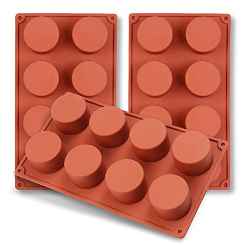 homEdge 8-Cavity Cylinder Silicone Mold, 3 Packs Cylinder Molds for Making Handmade Soap, Chocolate, Soap Candles and Jelly-Brown