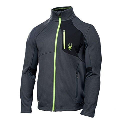 (Spyder Mens Linear Full Zip Jacket, Slate/Black/Mantis Green, X-Large )