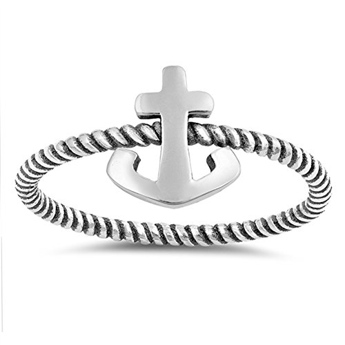 925 Sterling Silver Anchor and Rope Nautical Band Ring - 8