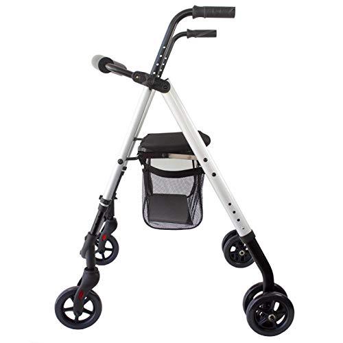 Mobiclinic, Andador para ancianos, Aluminio, Plegable, Asiento y respaldo, Frenos por presión, 4 ruedas, Gris perlado, Dehesa