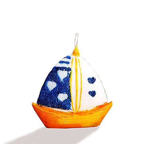 Decor Hut Sailboat Candle 2.5 inch, Set of 2 in Gift Box, Stands on its own, Nautical Party Favor and -