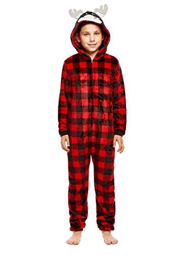 Boys Moose Pajamas   Plush Zippered Kids Animal Onesie Blanket Sleeper - ()