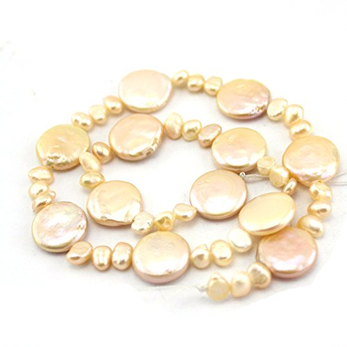 SR BGSJ Jewelry Making Craft Natural 4-5mm Baroque & 14mm Coin Pink Freeform Freshwater Pearl Gemstone Beads Jewelry Making Strand 15
