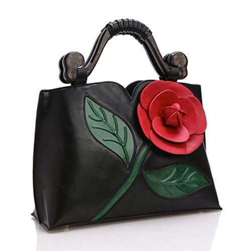 GSHGA Bolso Clásico Messenger Bag Vintage Rose Tridimensional Woodcarving Paquete Nupcial,Black Black