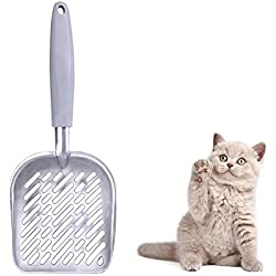 """Narrrowser 1Pcs Large Metal Giant Stainless Steel Aluminum Alloy Cat Litter Poop Scoop, TPR Gray Handle,Size 13.58""""Lx5.51""""Wx1.97""""H"""