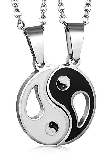 Jstyle 2 Piece Stainless Steel Mens Womens Friendship Yin Yang Necklace Pendant Couples Necklace (Yin Yang Necklaces)