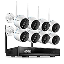 ZOSI 1080p FHD Wireless Cameras for Home Security Outdoor Indoor, 8CH NVR and (8) Weatherproof IP Camera 1080p, Plug and Play, Auto Match, Two-Way Audio, PIR Motion Detection, Remote Access(No HDD)