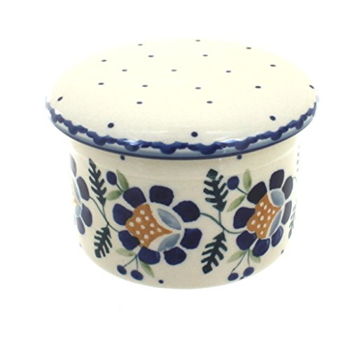 Blue Rose Polish Pottery Sunflower French Butter Dish
