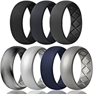 Egnaro Silicone Wedding Ring for Men, Breathable Mens' Rubber Wedding Bands, Size 8 9 10 11 12 13,Classica