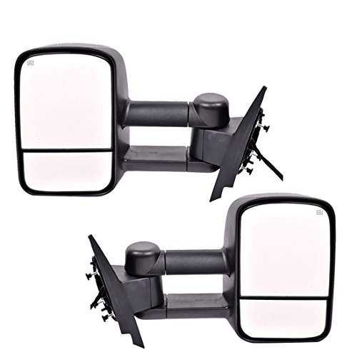 DEDC Towing Mirrors Silverado Side View Mirrors Power Heated with Manual Folding Extending for 07-14 Chevy Silverado GMC Sierra 1 Pair ()