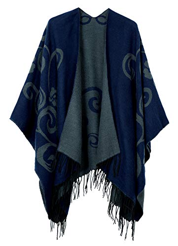 Urban CoCo Women's Printed Tassel Open front Poncho Cape Cardigan Wrap Shawl (Series 10-Navy Blue) ()