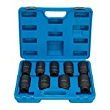8milelake 1/2 inch Deluxe Axle Nut Impact Sockets Set 9pcs Front and Back Wheel Driver Sockets