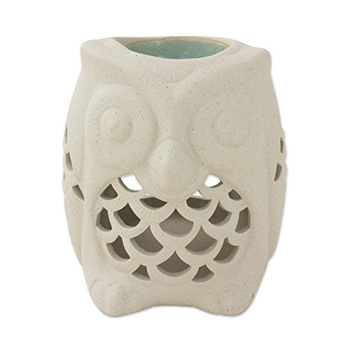 NOVICA Decorative Ceramic Incense Holder, Ivory 'Cozy Owl' by NOVICA
