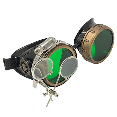 Steampunk Victorian Style Goggles with Compass Design, Emerald Green Lenses & Ocular Loupe