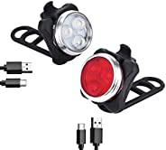 LED Bike Light Front and Back 650mAh IPX4 Waterproof, Super Bright 5 Lighting Modes USB Rechargeable , 2 x Bat