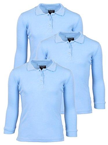 'Beverly Hills Polo Club 3 Pack of Girls\' Long Sleeve Interlock Uniform Polo Shirts, Size 14, Light - Beverly Blue