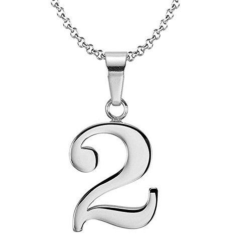 925 Sterling Silver Number 2 Charms Pendant Necklace with Chain (Two)