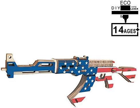 Modelo De Pistola Ametralladora AK47 Modelo De Madera 3D Rompecabezas Educativo para Ni/ños Rompecabezas De Juguete De Madera Juguete 3D De Madera