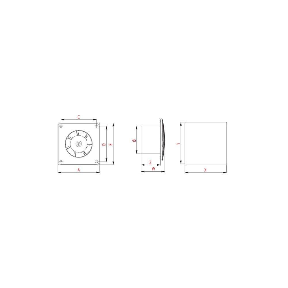 Extractor de ba/ño 125/mm//5/wti125/W Panel Frontal de Acero Inoxidable Cuerda