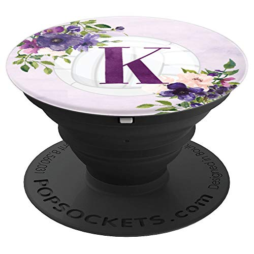 Volleyball Purple Flowers Monogram Name Initial Letter K - PopSockets Grip and Stand for Phones and Tablets