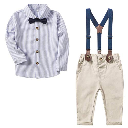SANGTREE Baby Boys' Dress Clothes, Toddlers Tuxedo Outfit, Long Sleeves Vertical Stripe Button Down Shirt with Bow Tie + Suspender Pants Set Suit, W02 Blue, 3-4 Years/Tag 120 - Kids 3 Piece Outfit