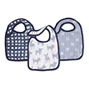 aden + anais Classic Snap Bib; 100% Cotton Muslin; Soft Absorbent 3 Layers; Adjustable; 9'' X 13''; 3 Pack; Waverly