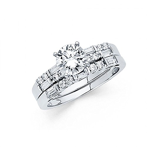14k White Gold Round Brilliant Cut CZ Baguette Engagement Wedding Ring (Baguette Round Jewelry Set)